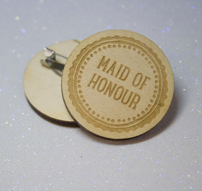 Badge Rustic Maid of Honour - thefancyhen.ie