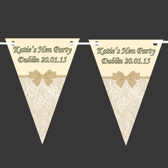 Bunting Customised Lace Bow - thefancyhen.ie
