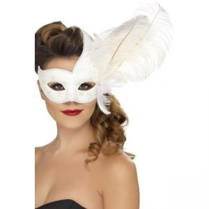 Feather Colombina Mask - thefancyhen.ie