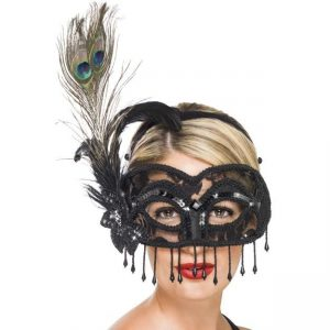Large Feather Colombina Mask - thefancyhen.ie
