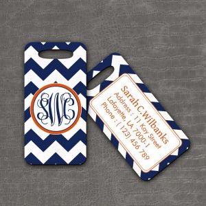 Luggage Tag Blue Chevron - thefancyhen.ie