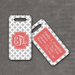 Luggage Tag Grey Checker - thefancyhen.ie