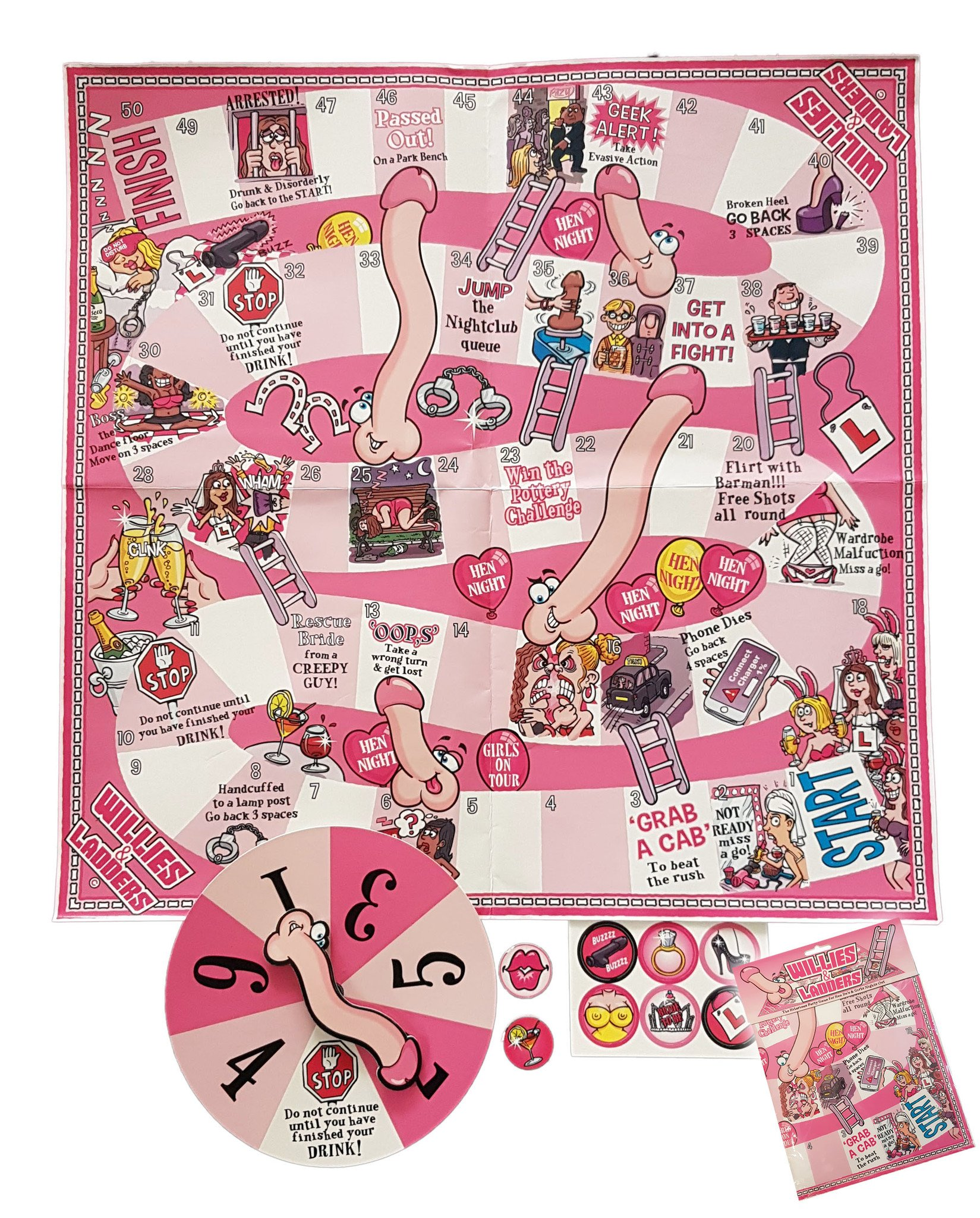 Willie & Ladders Hen Night Board Game - thefancyhen.ie