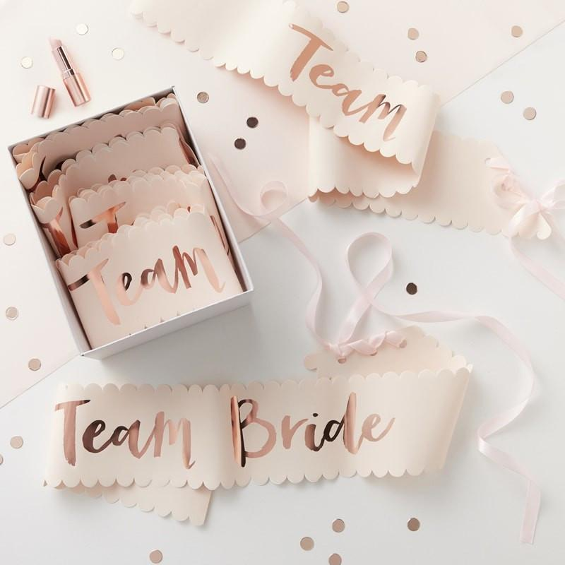 Pink & Rose Gold Team Bride Sash - 6 Pack - thefancyhen.ie